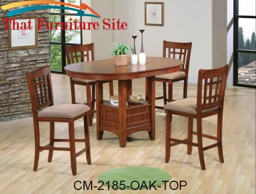 Empire Counter Table Oak Finish by Crown Mark  | Austin
