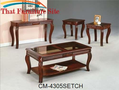 Lydia Cherry Coffee Table/End Set by Crown Mark  | Austin