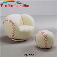 Baseball Chair and Ottoman by Crown Mark
