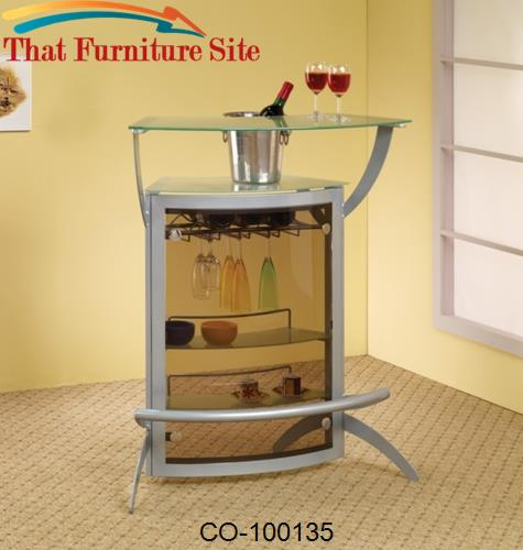 Bar Units and Bar Tables Contemporary Silver Metal Bar Unit with Glass