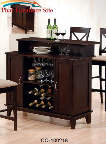 Mix & Match Contemporary Bar with Wine and Stemware Storage by Coaster
