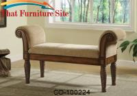 Benches Upholstered Bench with Rolled Arms by Coaster Furniture
