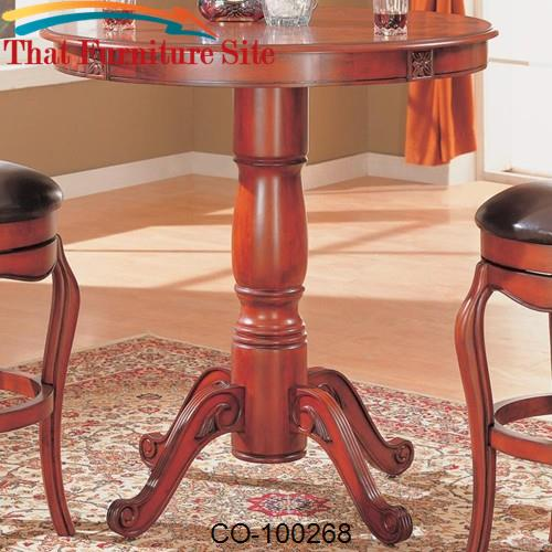 Harrison Bar Table with Traditional Pedestal Base by Coaster Furniture