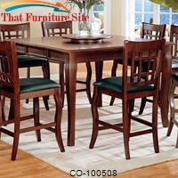 Newhouse Square Counter Height Leg Table with Lazy Susan by Coaster Furniture