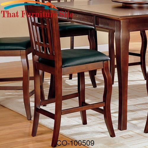 "Newhouse 24"" Bar Stool with Grid Back and Faux Leather Seat by Coaster"