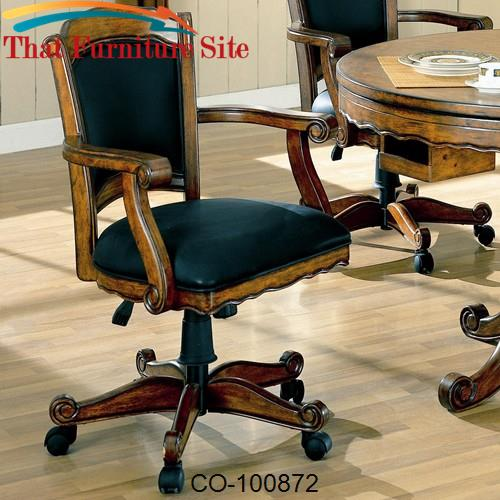 Turk Arm Game Chair with Casters and Fabric Seat and Back by Coaster F