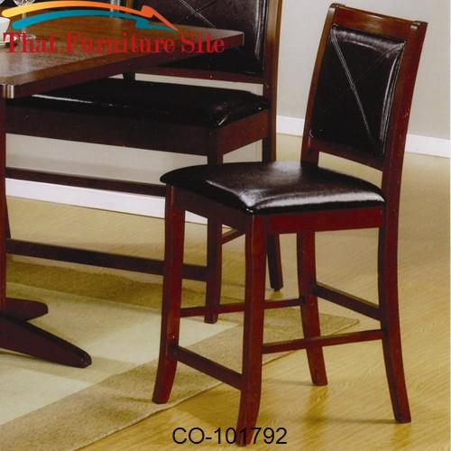 "Lancaster 24"" Counter Height Bar Stool with Faux Leather Back and Seat"