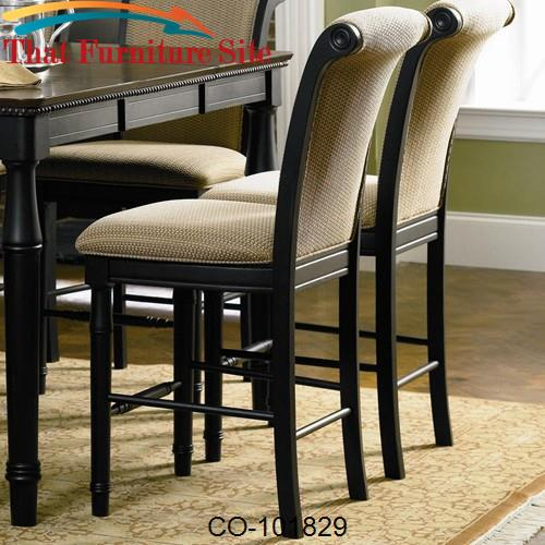 Cabrillo Counter Height Chair With Fabric Rolled Back And Seat By Coas