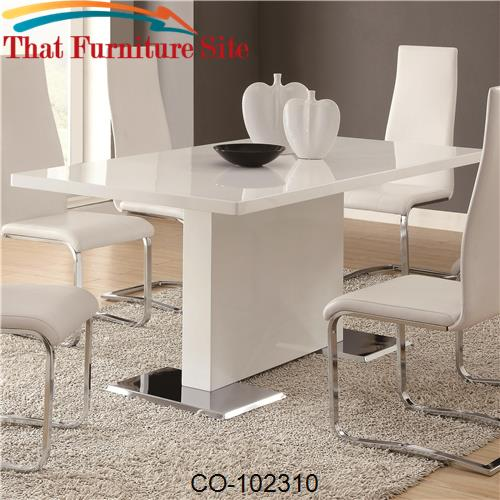 Modern Dining White Dining Table with Chrome Metal Base by Coaster Fur