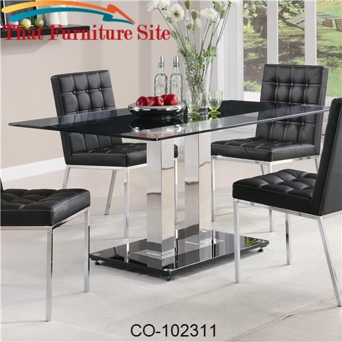 Rolien Chrome Finish Table with Tempered Glass Top by Coaster Furnitur