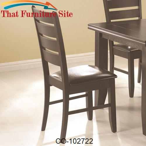 Page Contemporary Slat Back Dining Side Chair with Upholstered Seat by