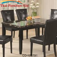 Anisa Dining Table with Black Faux Stone Top by Coaster Furniture