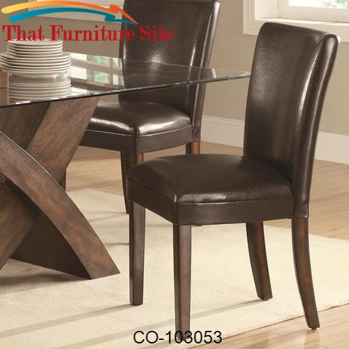 Nessa Brown Leather Like Vinyl Parsons Chair by Coaster Furniture  | A