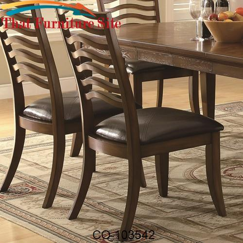 Avery Casual Wavy Slat Back Side Chair with Vinyl Seat by Coaster Furn