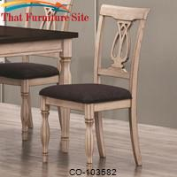 Camille Transitional White Ash Chair with Splat Back by Coaster Furniture