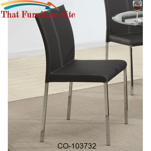 Ophelia Contemporary Black Colored Vinyl Dining Side Chair by Coaster