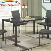 103740 Contemporary Metal Dining Table with Glass Top by Coaster Furniture