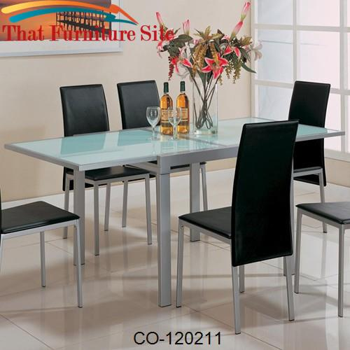 Sunrise Frosted Glass Dining Table with Metal Extensions by Coaster Fu