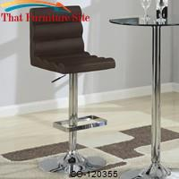Bar Units and Bar Tables Contemporary Adjustable Brown Stool with Roll Back by Coaster Furniture