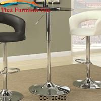Bar Units and Bar Tables Adjustable Bar Table w/ Round Black Tempered Glass Top by Coaster Furniture