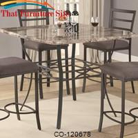 Ashford Counter Height Pub Table with Faux Marble Top and Metal Base by Coaster Furniture