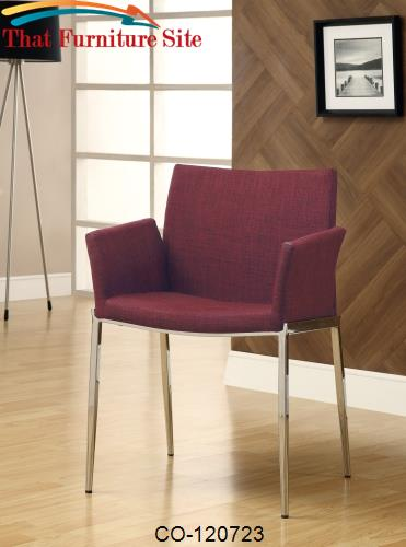 Dining 120 Cranberry Upholstered Dining Chair with Chrome Legs by Coas