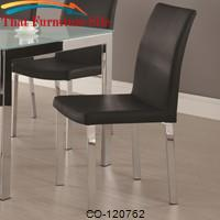 Bryn Dining Side Chair with Megal Legs and Faux Black Leather by Coaster Furniture