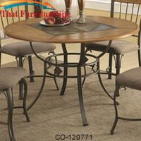 1207 Round Dining Table with Metal Legs and Wood Top Inlaid with a Slate Look Center by Coaster Furniture