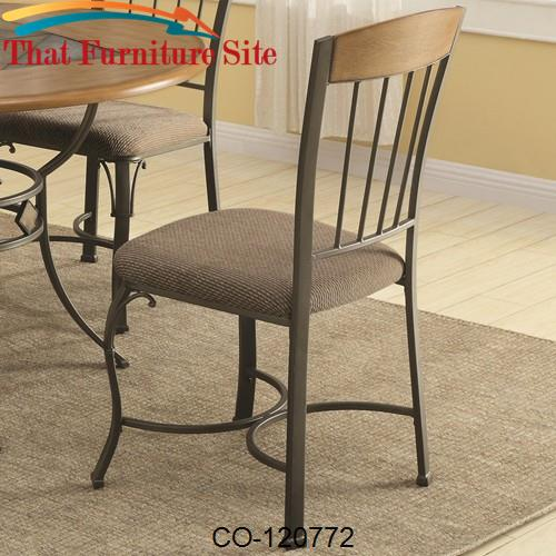 1207 Dining Side Chair with Metal Legs and Fabric Seat by Coaster Furn