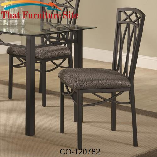Blake Dining Side Chair with Fabric Seat and Metal Legs by Coaster Fur