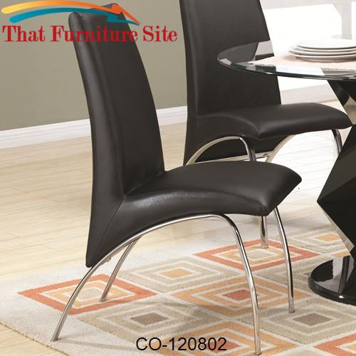 Ophelia Contemporary Vinyl and Metal Dining Chair by Coaster Furniture