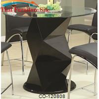 Ophelia Contemporary Glass Top Counter Height Table with Zigzag Pedestal by Coaster Furniture