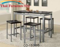Atlus Counter Height Contemporary Silver Metal Table with Black Top and 4 Stools by Coaster Furniture
