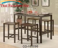 Atlus Counter Height Contemporary Brown Metal Table with Marble Look Top and 4 Stools by Coaster Furniture
