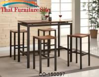 Atlus Counter Height Contemporary Black Metal Table with Warm Oak Top and 4 Stools by Coaster Furniture