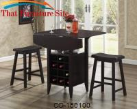 Bar Units and Bar Tables 3 Piece Drop Leaf Bar Table and Stool Set by Coaster Furniture