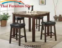 Sofie 5 Piece Marble Look Counter Height Dining Set by Coaster Furniture