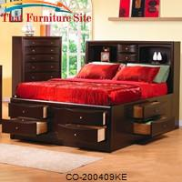 Phoenix Contemporary King Bookcase Bed with Underbed Storage Drawers by Coaster Furniture