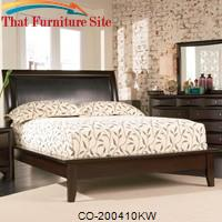 Phoenix Contemporary California King Platform Bed with Vinyl Panel Headboard by Coaster Furniture