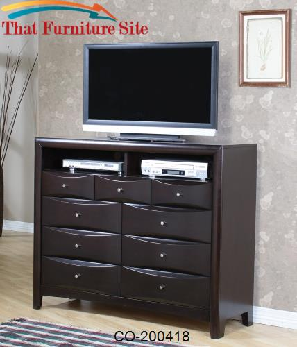 Phoenix Contemporary TV Dresser with 9 Drawers and 2 Media Compartment