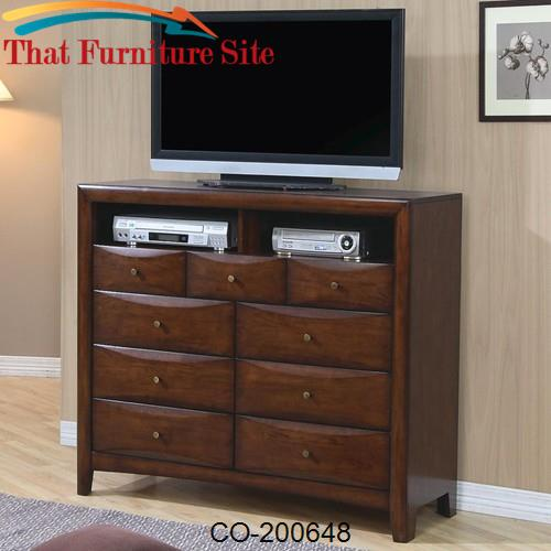 Hillary and Scottsdale Contemporary TV Dresser with 9 Drawers and 2 Me