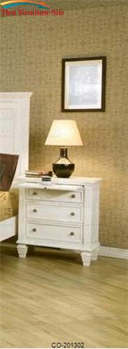 Sandy Beach Night Stand with 3 Drawers by Coaster Furniture  | Austin