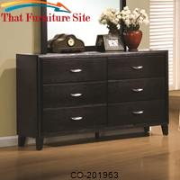 Nacey Stained Black 6 Drawer Dresser by Coaster Furniture