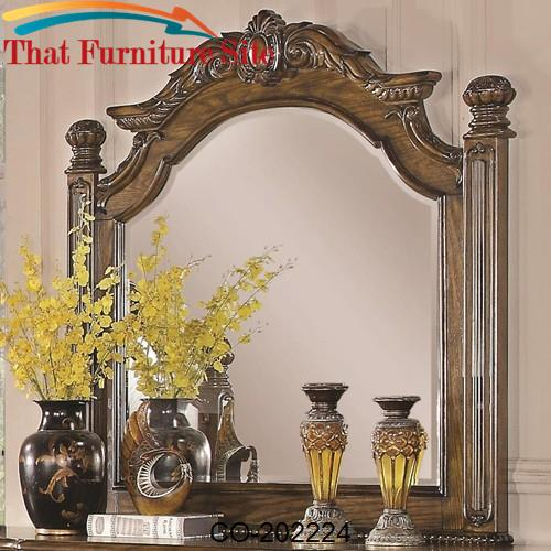 Bartole Traditional Mirror with Finials by Coaster Furniture  | Austin