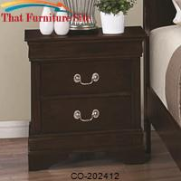 Louis Philippe 202 Night Stand with 2 Drawers by Coaster Furniture