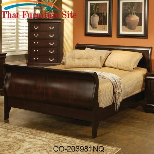 Louis Philippe Queen Traditional Sleigh Bed by Coaster Furniture  | Au