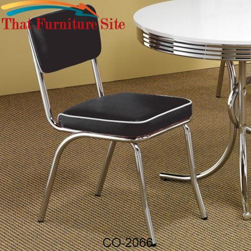Cleveland Chrome Plated Side Chair with Black Cushion by Coaster Furni