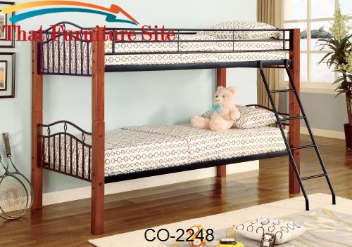 Haskell Metal and Wood Casual Twin over Twin Bunk Bed by Coaster Furni