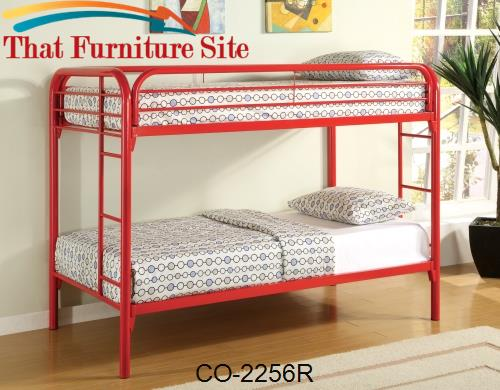 TWIN/TWIN BUNK BED, RED by Coaster Furniture  | Austin