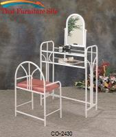 Vanities Art Deco Metal Vanity with Glass Top and Stool with Fabric Seat by Coaster Furniture